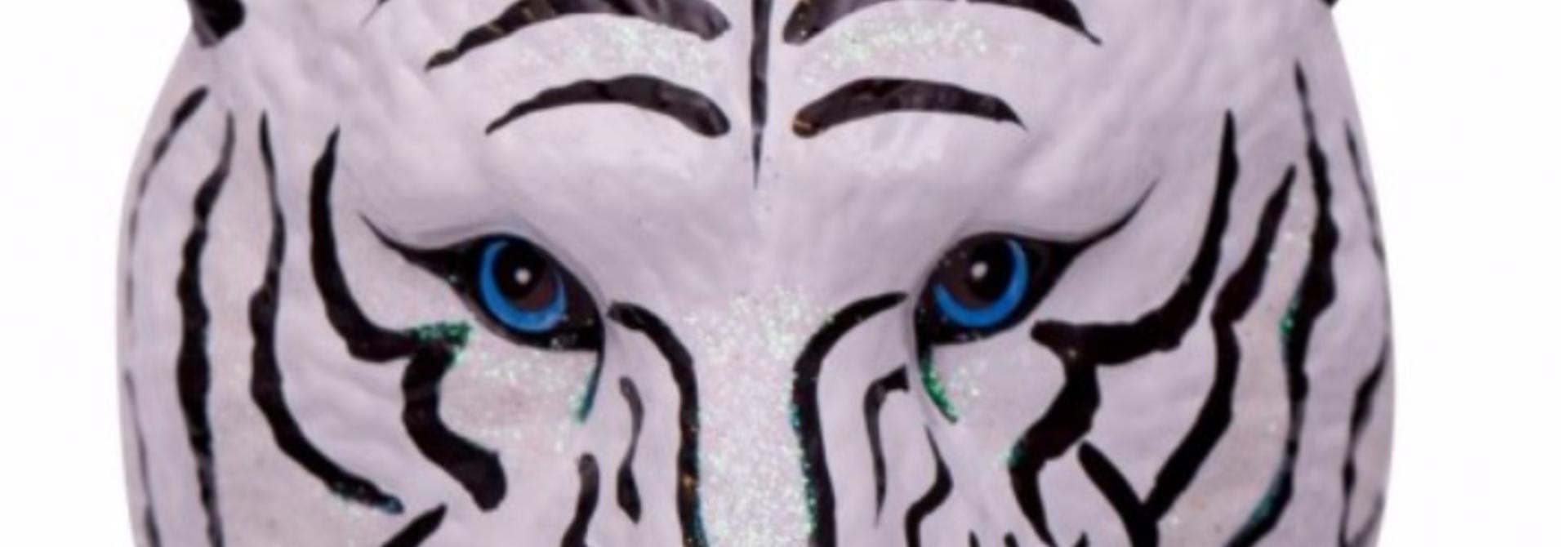 Kersthanger white/black tiger head