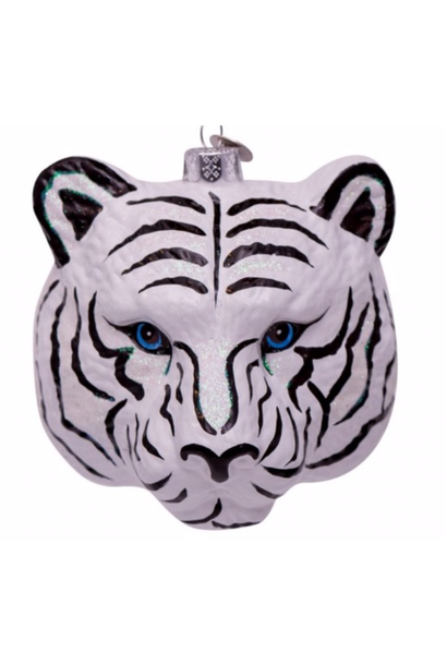Kersthanger white/black tiger head