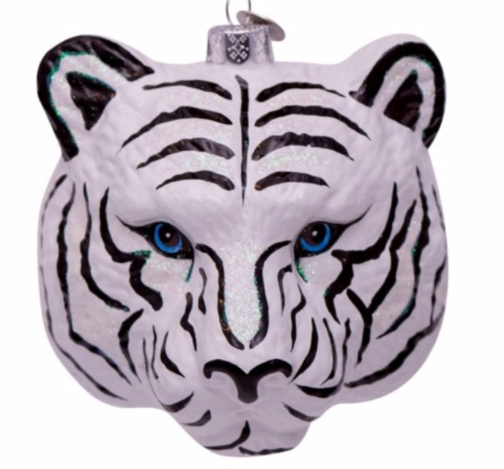 Kersthanger white/black tiger head-1