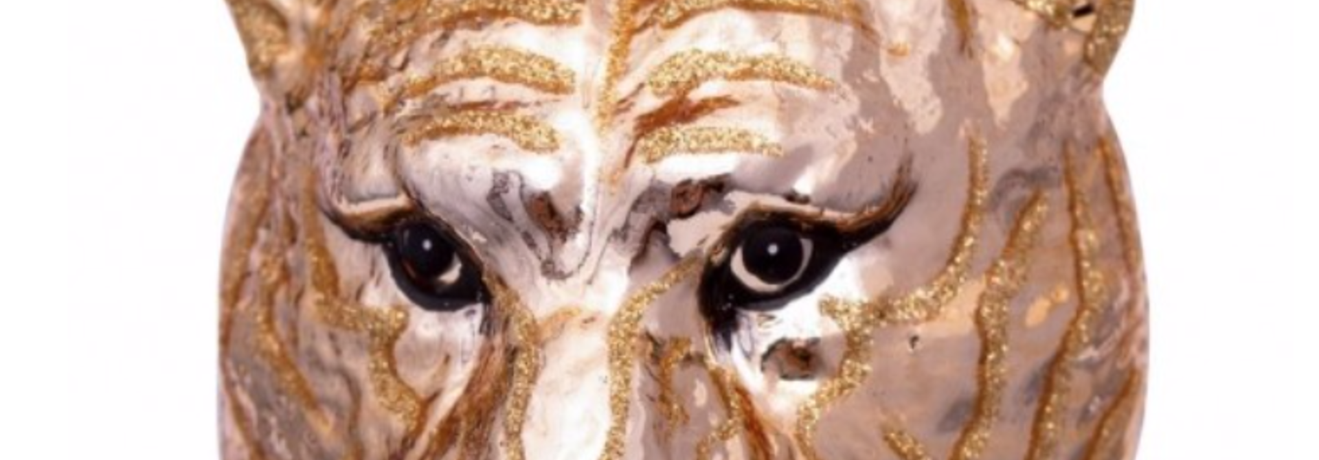 Kersthanger gold tiger head (H11cm)