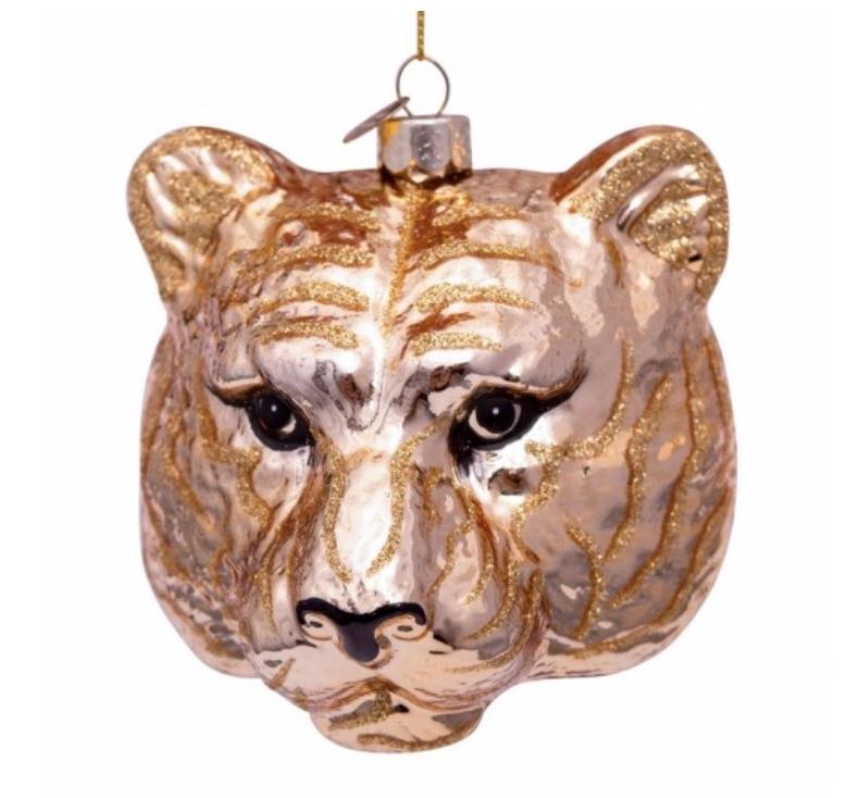 Kersthanger gold tiger head (H11cm)-1