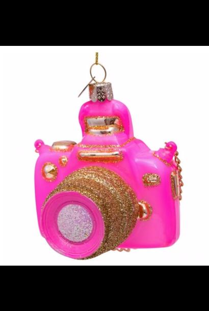 Kersthanger pink Camera
