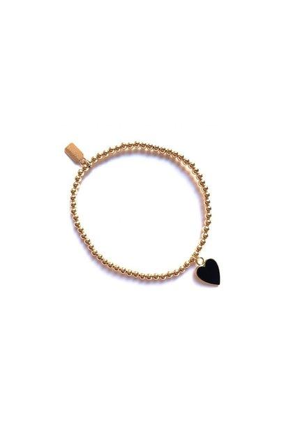 Bracelet gold heart black