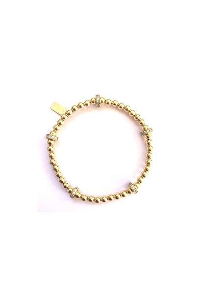 Bracelet gold rondel strass 5