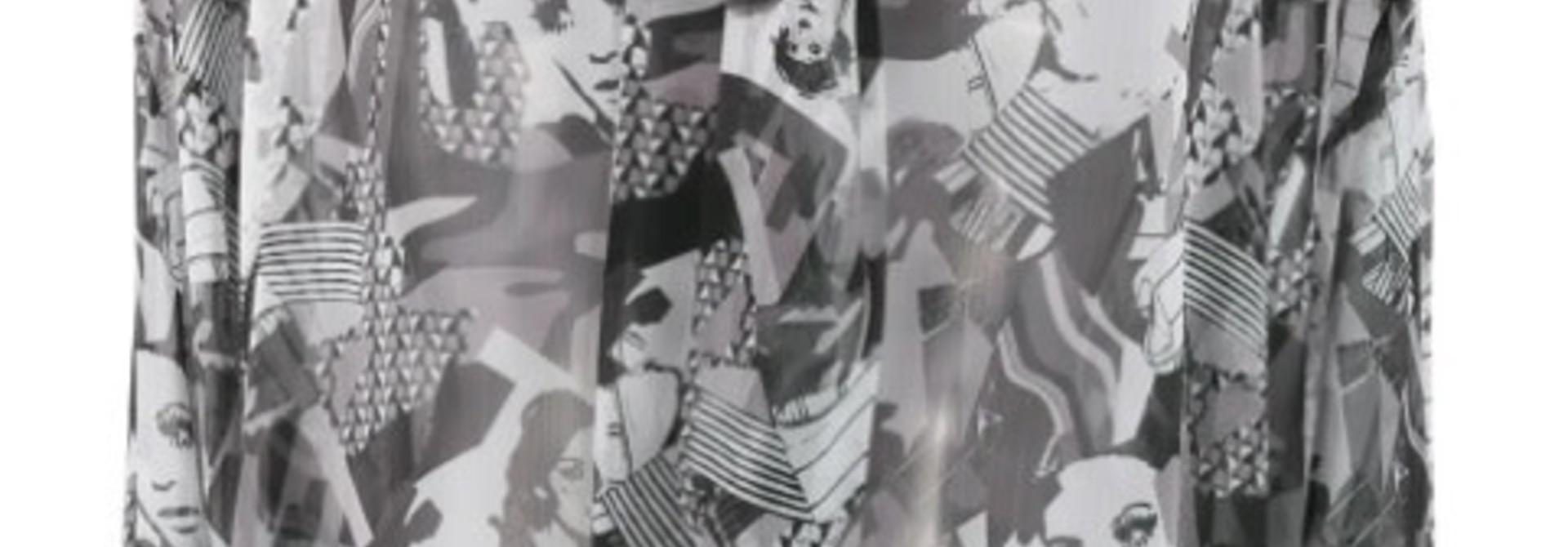 Blouse black & white pop faces