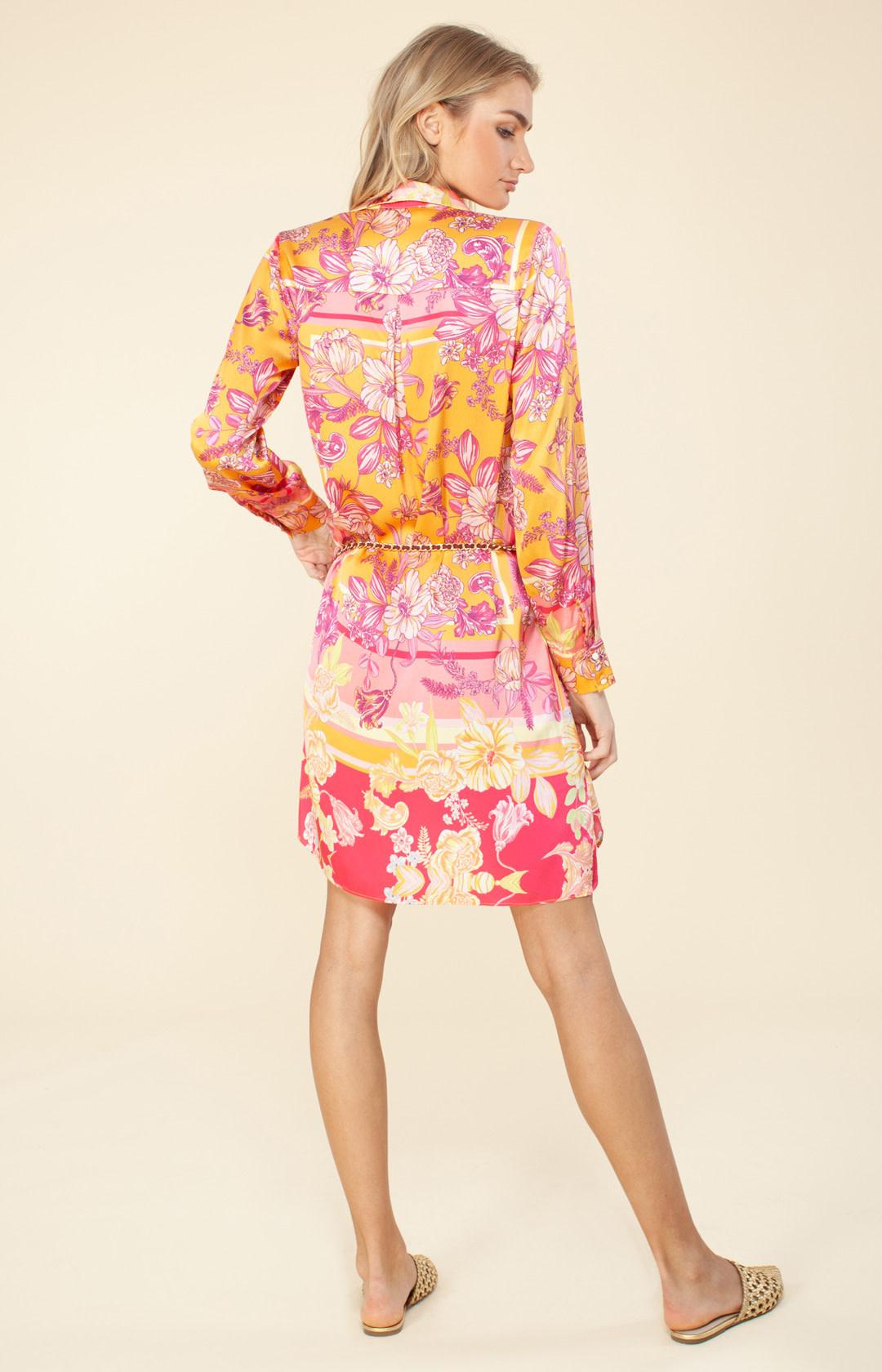 Shirtdress silk pink/orange-2