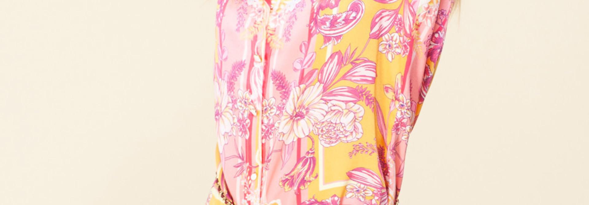 Shirtdress silk pink/orange