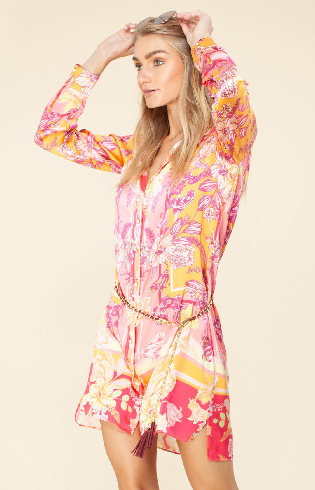 Shirtdress silk pink/orange-1