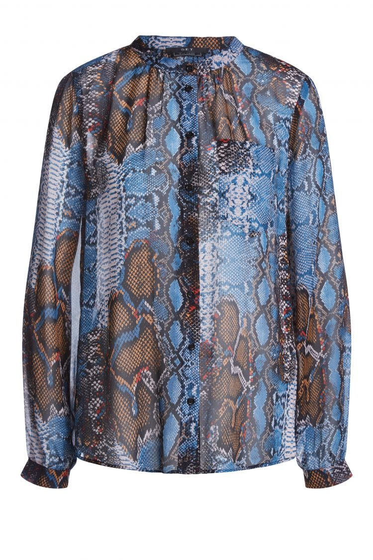 Blouse snake blue camel-1