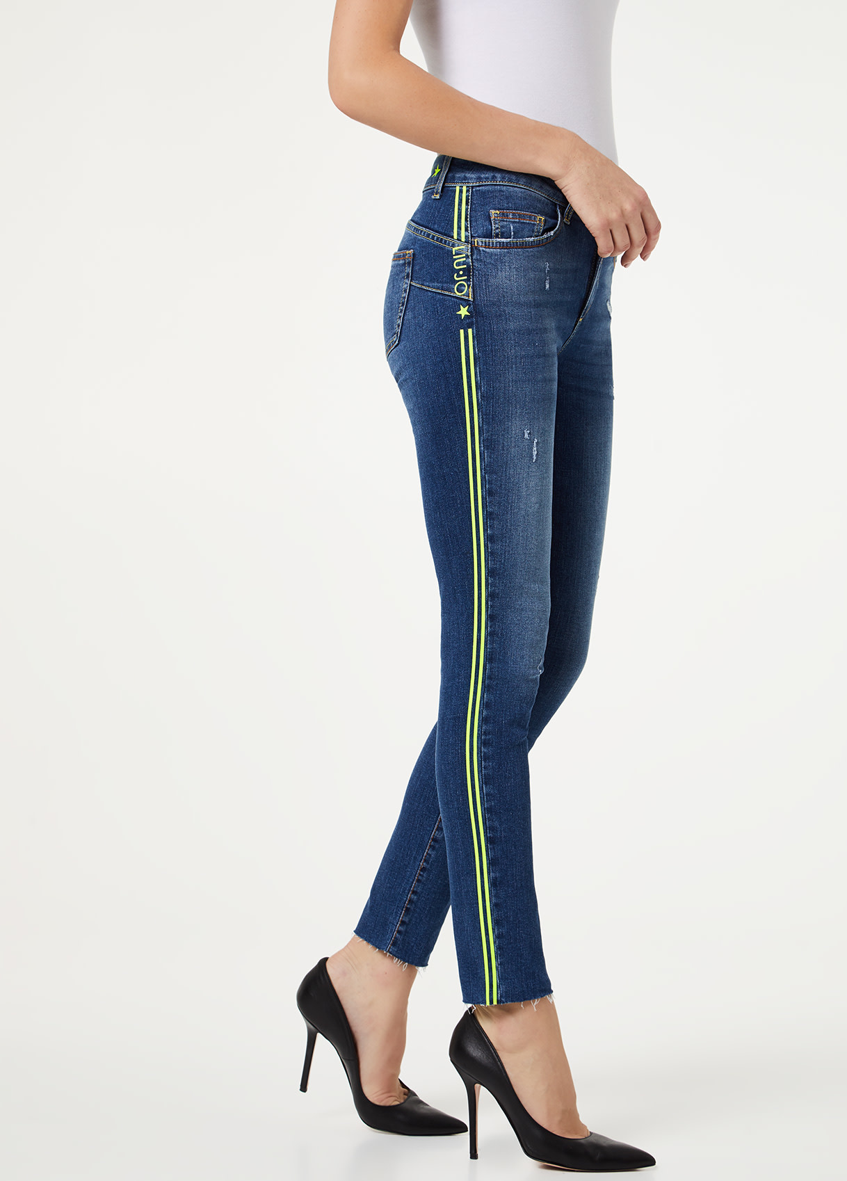 B.up Ideal jeans met neon-8