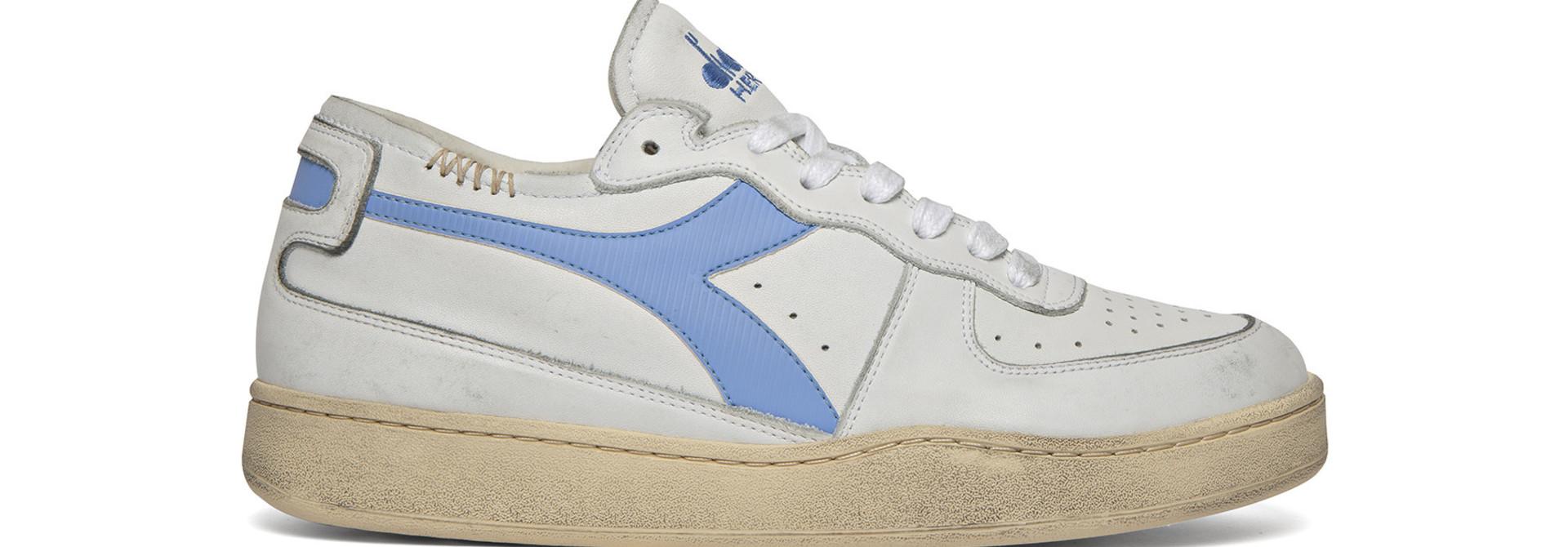 Sneaker basket row cut wit-blauw