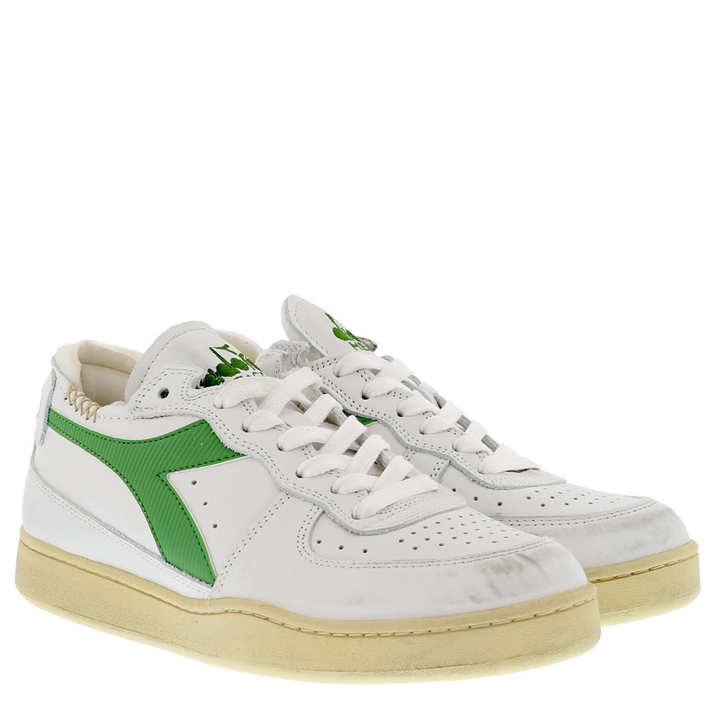 Sneaker basket row cut wit-groen-2
