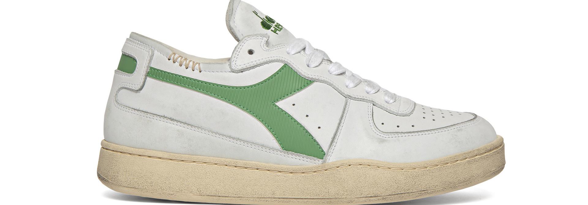 Sneaker basket row cut wit-groen
