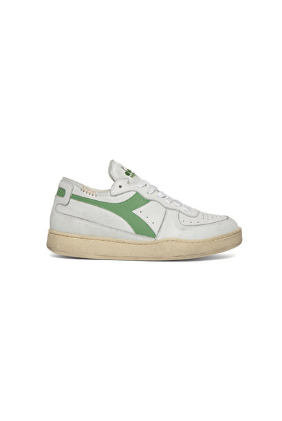 Sneaker basket row cut wit-groen