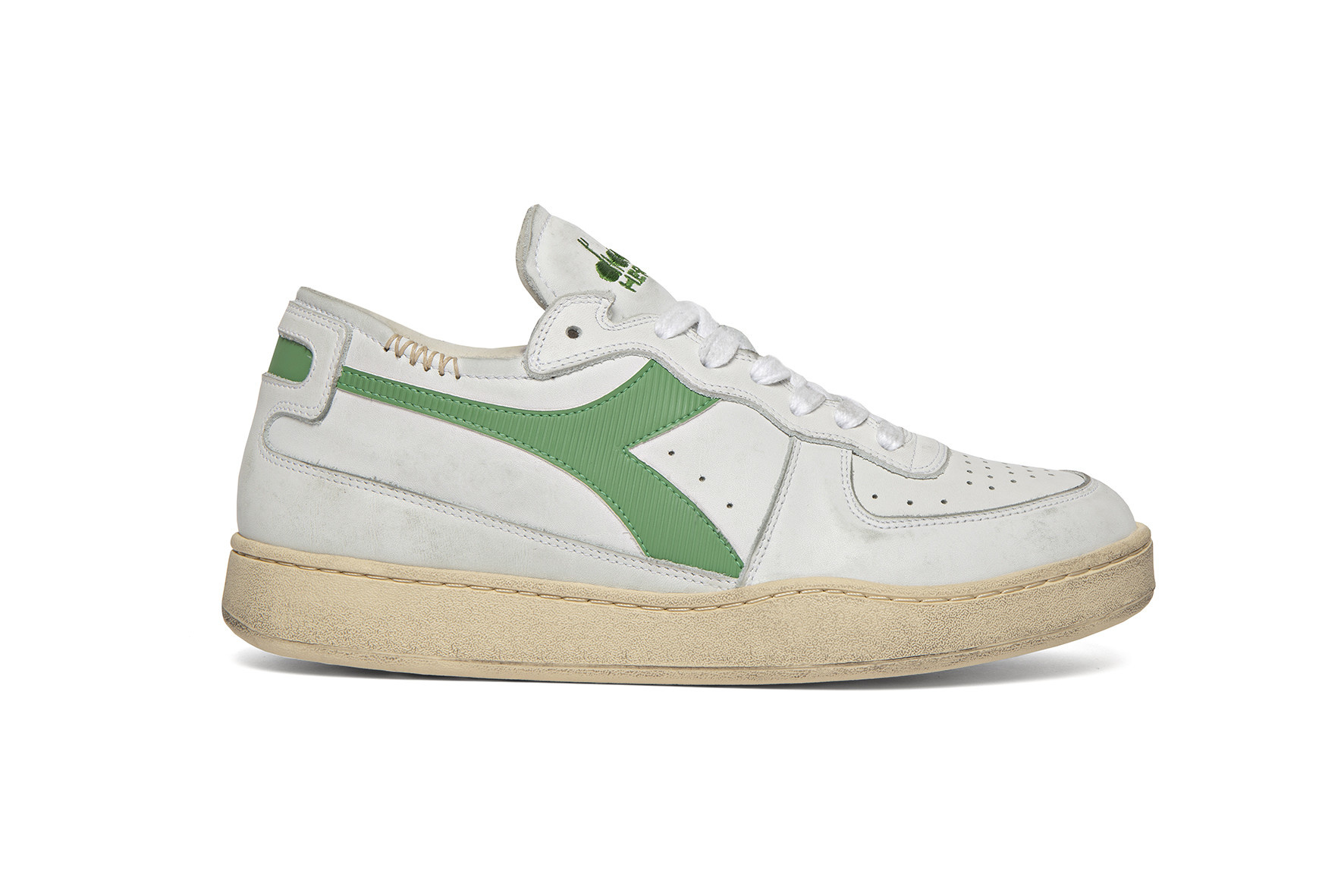 Sneaker basket row cut wit-groen-1