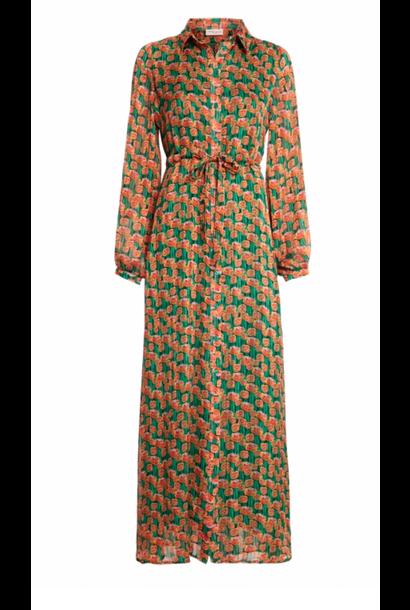 Frida long dress cactus green/ pumpkin flowers