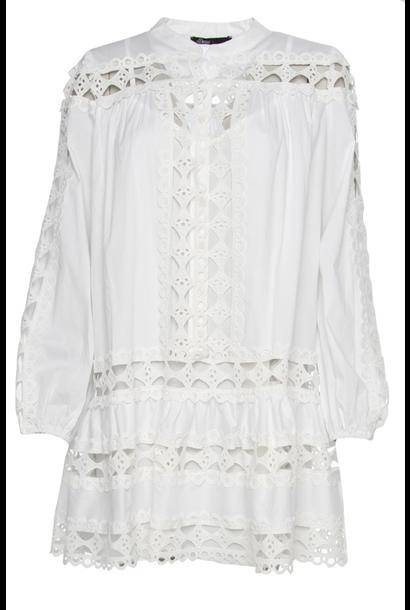 Witte jurk ronde hals