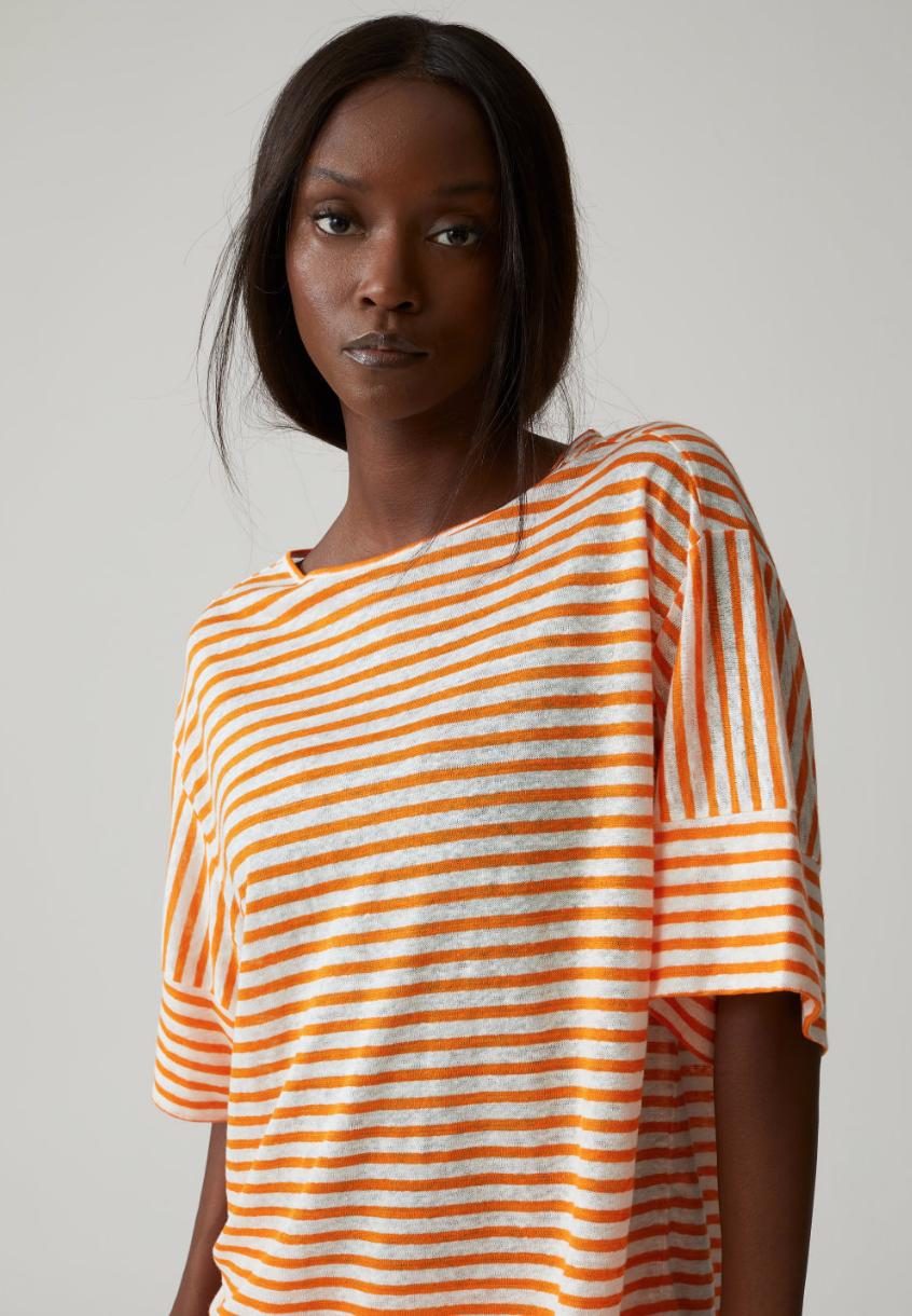 Striped linen t- shirt-1