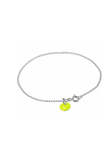 Bracelet ball chain neon yellow silver