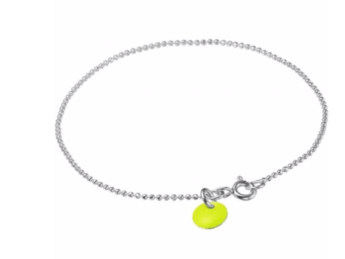 Bracelet ball chain neon yellow silver-1