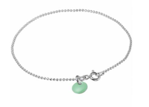 Bracelet ball chain Dusty green silver-1