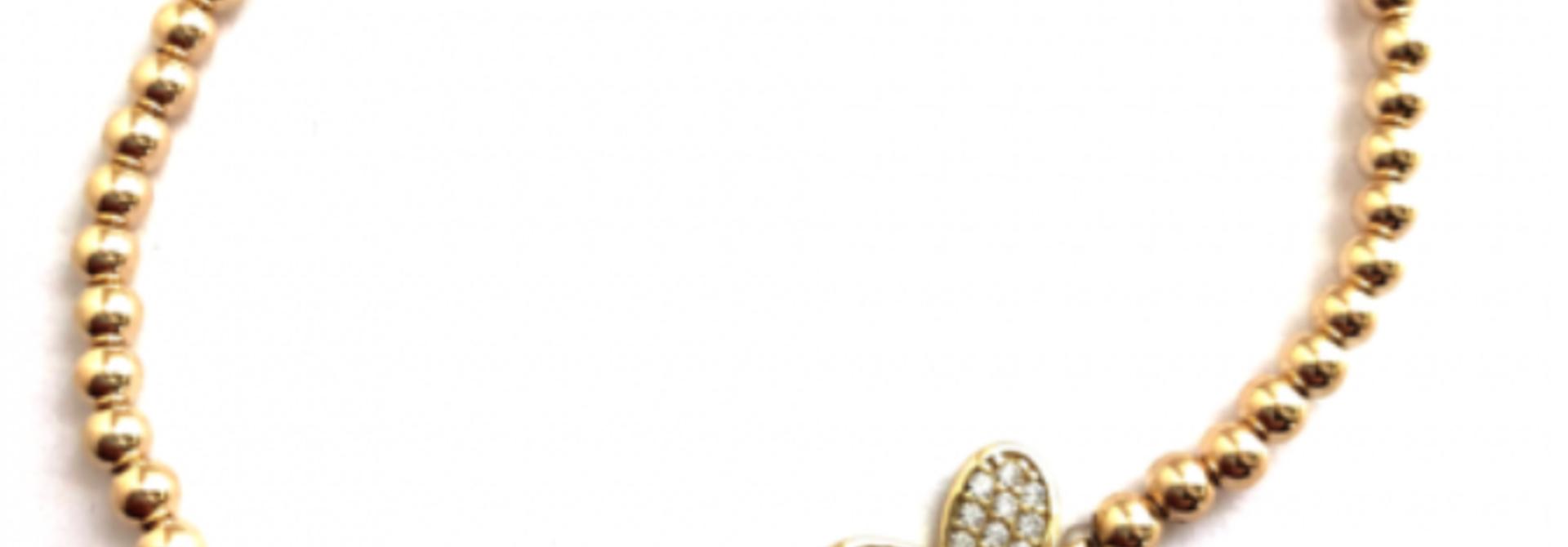 Butterfly pave gold bracelet