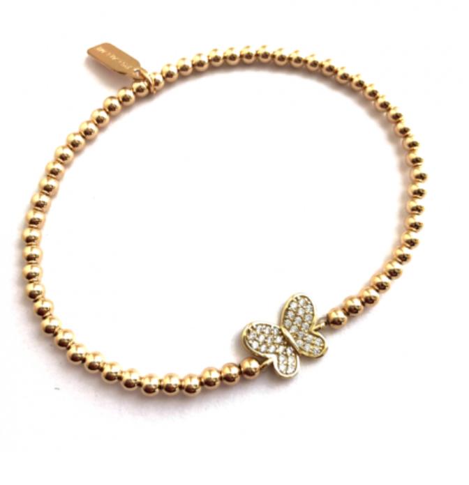 Butterfly pave gold bracelet-1