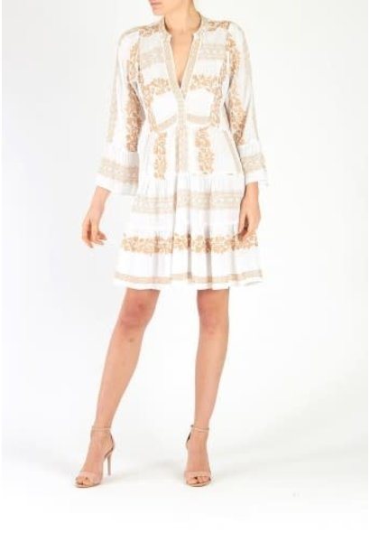 Mila dress embroidery white/gold