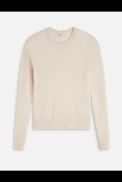 Waffle knit linen white