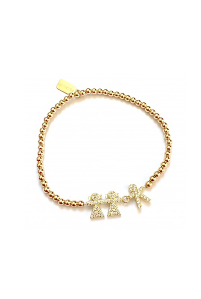 Bracelet gold 2 girl 1 boy strass