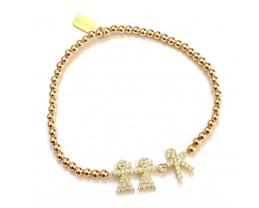 Bracelet gold 2 girl 1 boy strass-1