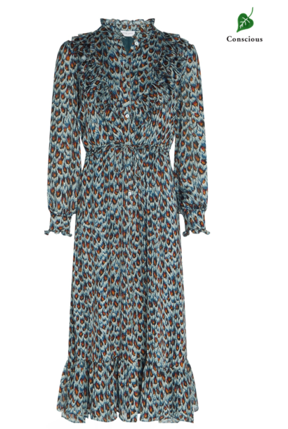 Fia dress Dusty Blue / Taupe Peacock party
