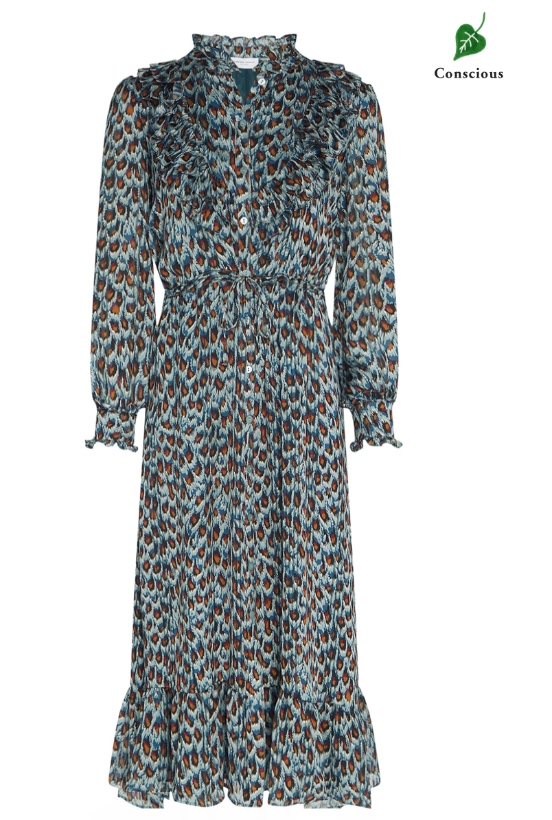 Fia dress Dusty Blue / Taupe Peacock party-1