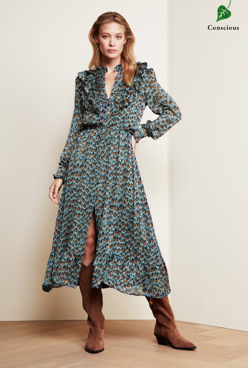 Fia dress Dusty Blue / Taupe Peacock party-2