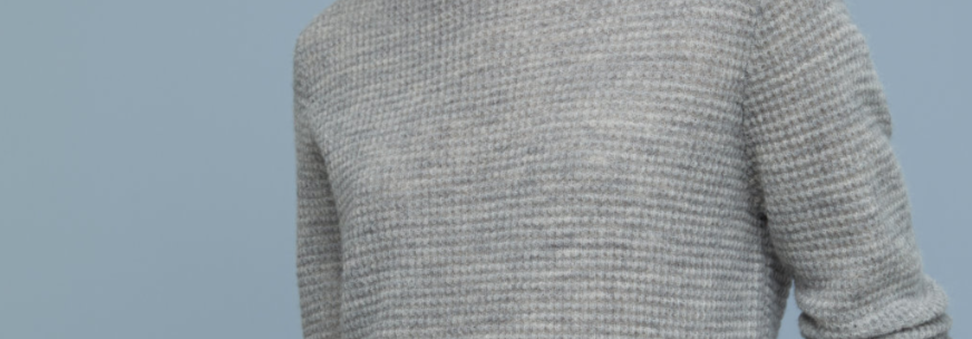 Waffle knit linen light grey melange