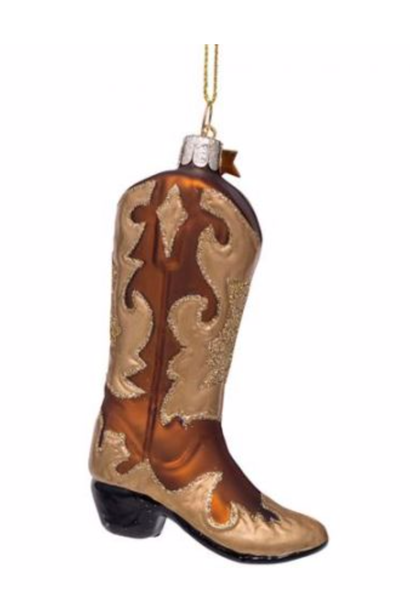 Kersthanger brown white/ gold glitter cowboy boot ( H 10,5 cm)