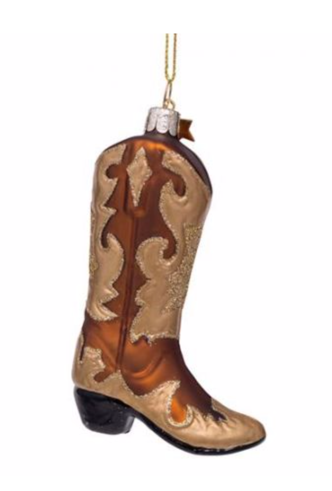 Kersthanger brown white/ gold glitter cowboy boot ( H 10,5 cm)-1