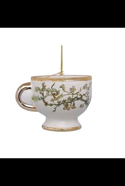 Kersthanger Van Gogh blossom gold teacup (H 6 cm)