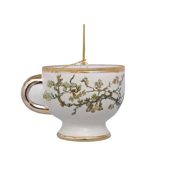 Kersthanger Van Gogh blossom gold teacup (H 6 cm)-1