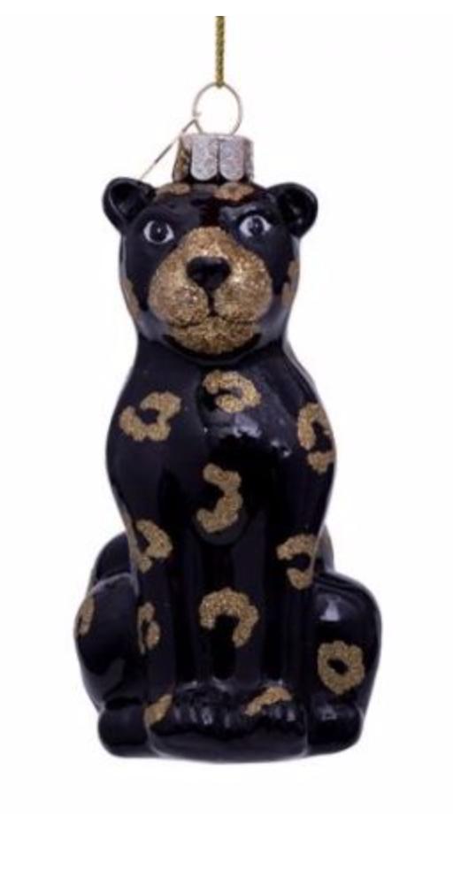 Kersthanger black panther w/glitter print (H 12 cm)-1