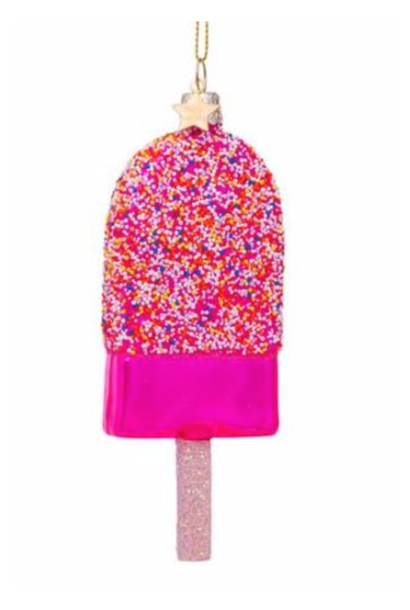 Kersthanger pink popsicle w/discodip (H 14cm)