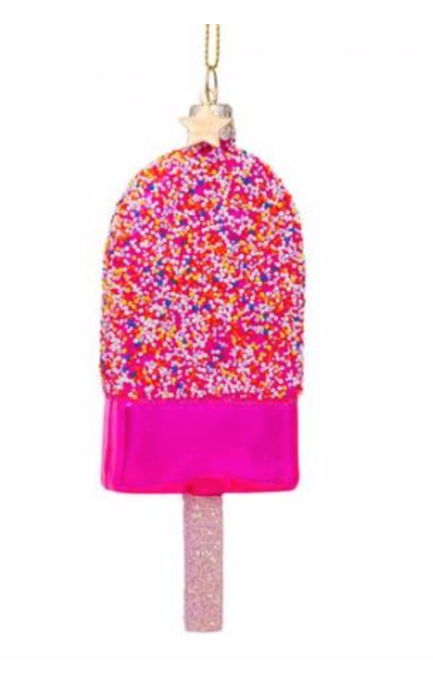 Kersthanger pink popsicle w/discodip (H 14cm)-1