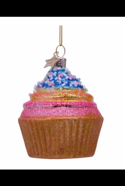 Kersthanger rainbow cupcake (H 8cm)