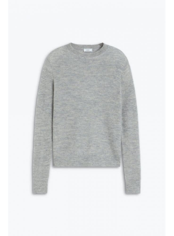 Waffle knit linen light grey melange-1