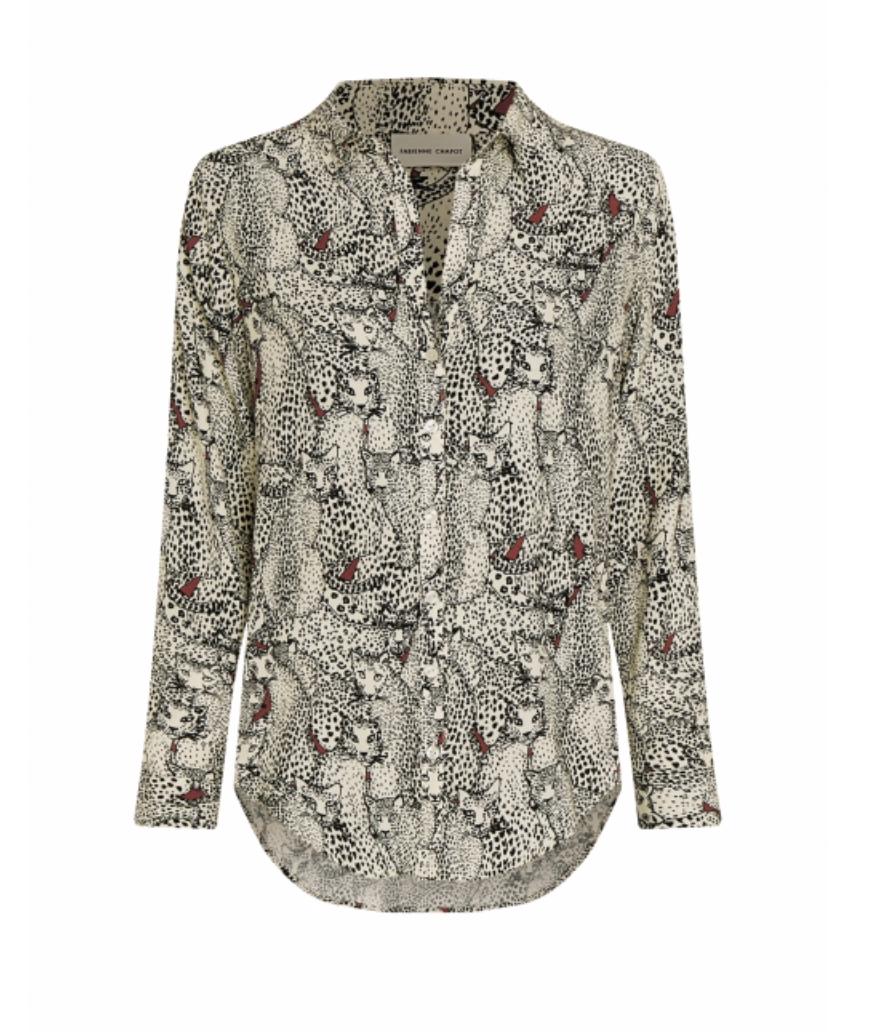 Lily blouse Cream white black-1