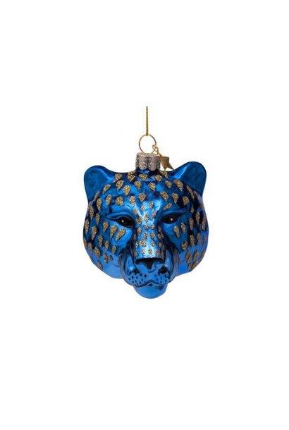 Kersthanger tiger head blue (7,5cm)