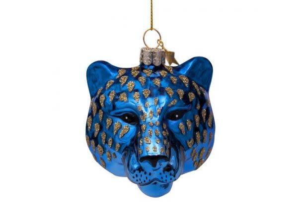 Kersthanger tiger head blue (7,5cm)-1