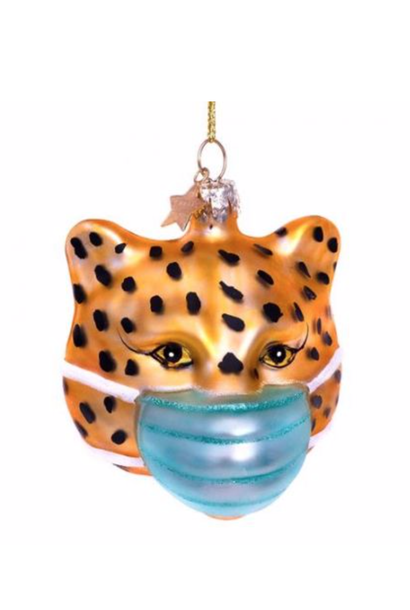 Kersthanger Gold panther w/face mask ( 7.5cm)
