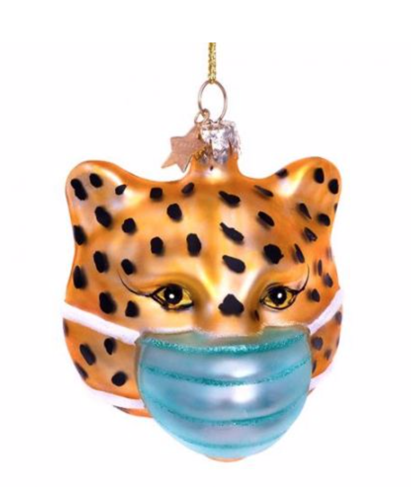 Kersthanger Gold panther w/face mask ( 7.5cm)-1