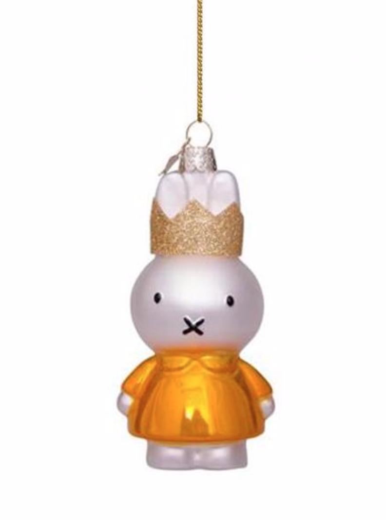 Kersthanger Nijntje/ Miffy yellow dress w/crown-1